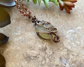 Sea Glass Pendant Copper Wire Wrap