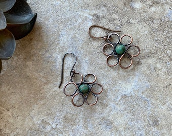 Flower and Turquoise Earrings Copper Wire Wrap