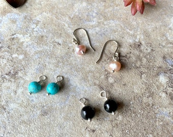 Small Changeable Drop Earrings Sterling Silver