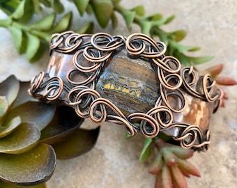 Tiger Iron Wire Wrap Womens Copper Cuff Bracelet