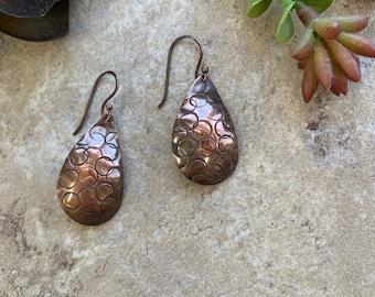 Copper Stamped Teardrop Earrings