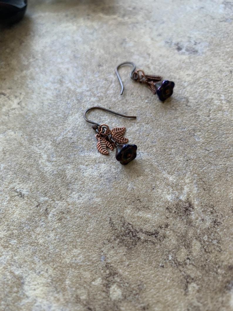 Purple Flower Leaf Copper Earrings