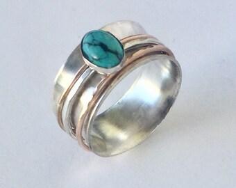 Spinner Ring - Wedding Ring - Spinner Ring For Women - 3 Band Spinner Ring - Mens Spinner Ring - Turquoise Ring For Women