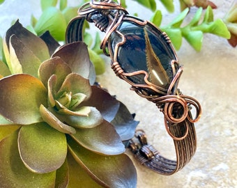 Wire Wrapped Copper Tigers Eye Bracelet Cuff, Wire Wrapped Natural Stone Bangle for Women