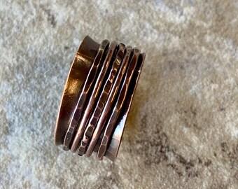 Spinner Rings For Women - Hammered Worry Ring - Copper Wedding Ring - Copper Spinner Ring - 5 Spinner Ring - Spinner Ring for Men