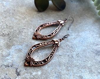Teardrop Medium Length Copper Earrings for Women