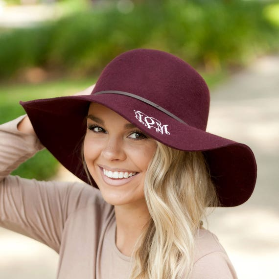 c717d7635f6 Wine Wool Floppy Hat Can be monogrammed or personalized