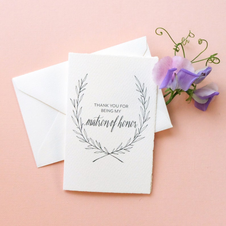 Handmade Paper Wedding Party Thank You Card Matron of Honor Thank You Card Matron of Honor Gift Thank You for Being My Matron of Honor