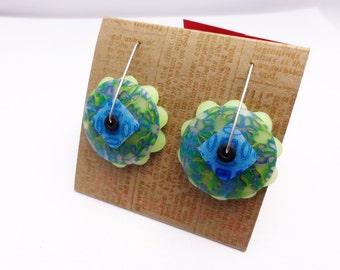 DE Lime Slushie disk earring by Marie Segal