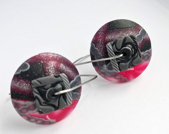 Black and Blood classic Marie Segal disk earrings 2019 new to shop