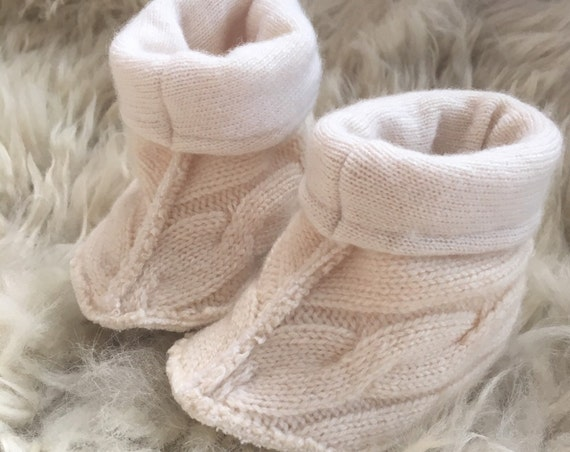 Cashmere Fold-Over Baby Slippers size 0-6months