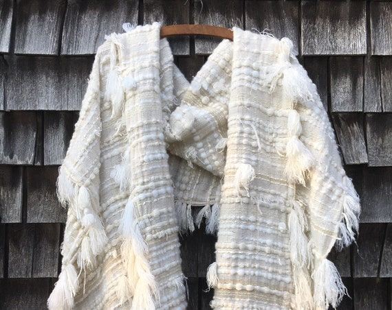 Distressed Cashmere Scarf - Cream