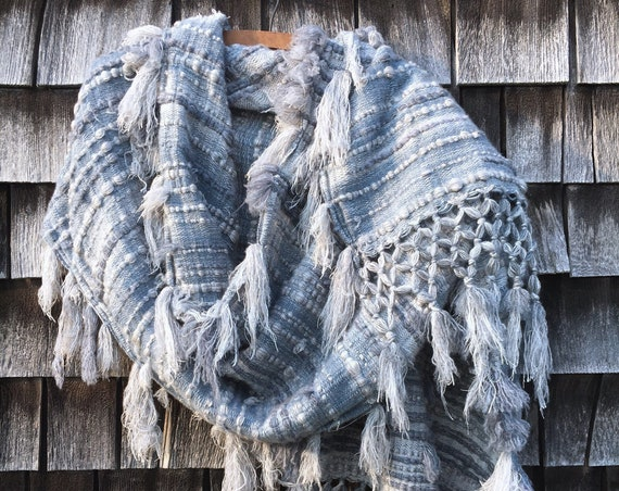 Distressed Cashmere Scarf - Blue / Cream