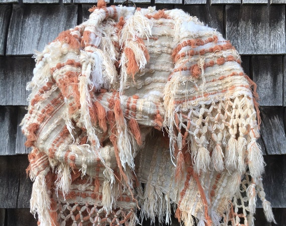 Distressed Cashmere Scarf - Terracotta