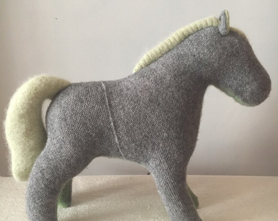 Soft Toy Horse, Grey Green