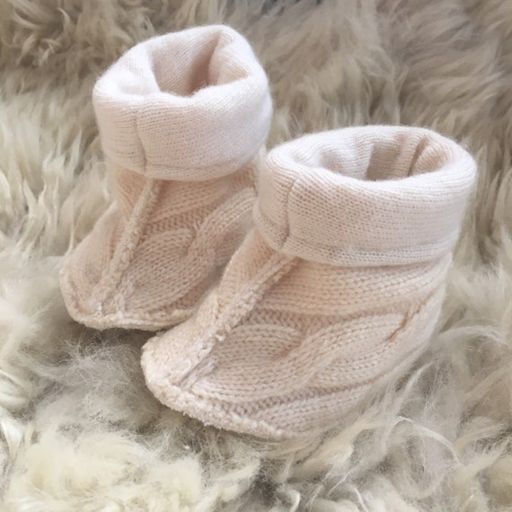 Cashmere Fold-Over Baby Slippers size 3-6months