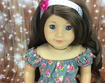 18 inch doll floral romper and headband to fit american girl size doll. Summer doll clothes