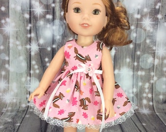 14.5 inch doll clothes to fit Wellie Wishers size Pink dress for dolls. Chipmunk doll dress