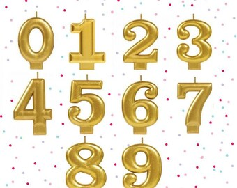 Sale GOLD NUMBER CANDLE 1 2 3 4 5 6 7 8 9 Number Birthday Cake Candles Photo Prop Smash 1st 2nd 3rd 4th 5th 6th First One