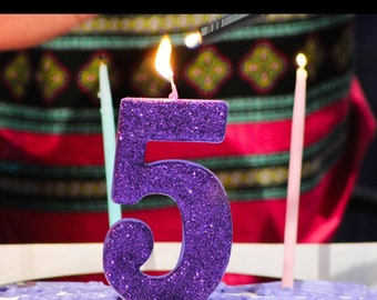 Sale JUMBO 5 GLITTER CANDLE Large Number Birthday Cake Candles Photo Prop Smash 1 1st 2nd 3rd 4th 5th 6th Kids First Purple