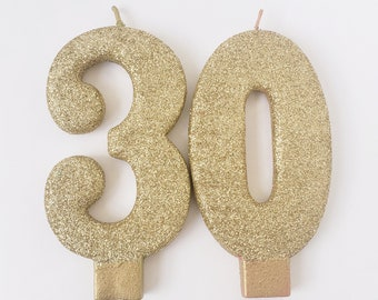 Sale 2 GLITTER GOLD JUMBO Candles Number Birthday Cake 10th 15th 16th 18th 21st 30th 40th 50th 60th 70th 80th 90th Topper