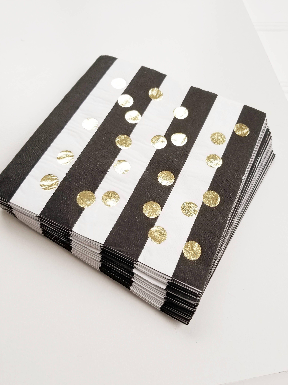 Black White Gold Living Room Decor: Sale 30 BLACK & WHITE STRIPED Gold Polka Dot Large Paper