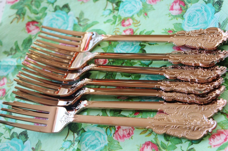 SALE 120 FAUX COPPER Cutlery Plastic Forks Spoons Knives Tableware Rose Gold Vintage Style Wedding Shower Tea Party Shabby Chic Garden