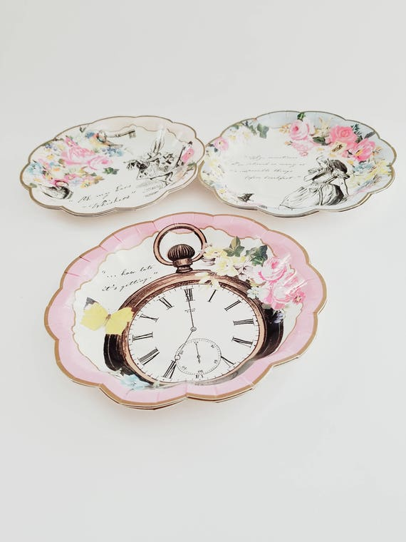6e231b25390 Sale 12 Alice In The Wonderland Floral Tea Party Paper Plates Birthday  Shower Mad Hatter Rabbit Bunny Watch Vintage Style Shabby Chic Garden