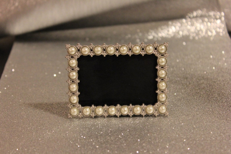 Set of 22 PEARL FRAMES Frame Mini Table Numbers Chalkboard or Glass Photo Picture Jeweled Vintage Style Glam Favors Placecards Seating Name
