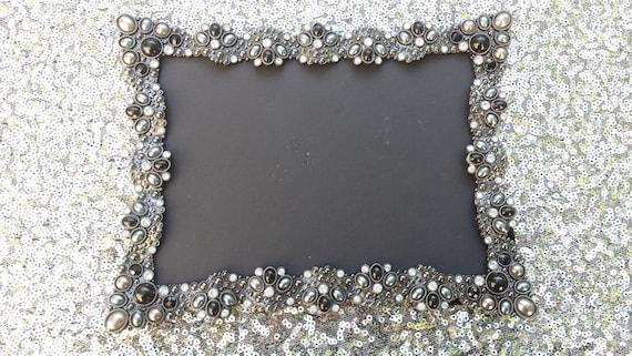Vintage Style Black Jeweled Rhinestone Frame Bling Silver Etsy
