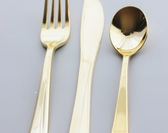 24 ASSORTED FAUX GOLD Cutlery Plastic Forks Spoons Knives Tableware Golden Vintage Style Wedding Shower Tea Party Shabby Chic Modern Gatsby : vintage style tableware - pezcame.com