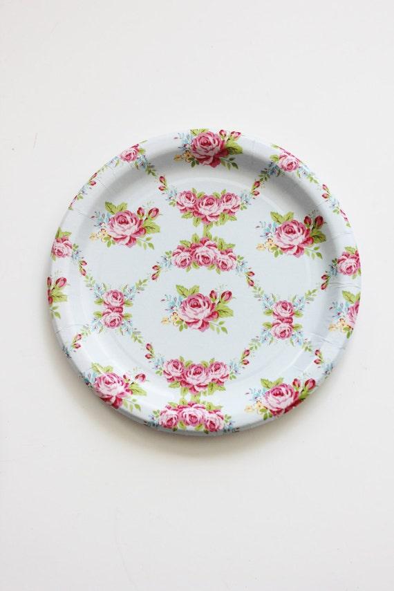 30 FLORAL TEA PARTY Paper Plates Parisian Vintage Style Shabby   Etsy