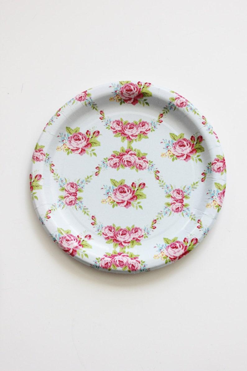 443c2f22ba5 30 FLORAL TEA PARTY Paper Plates Parisian Vintage Style Shabby image 0 ...
