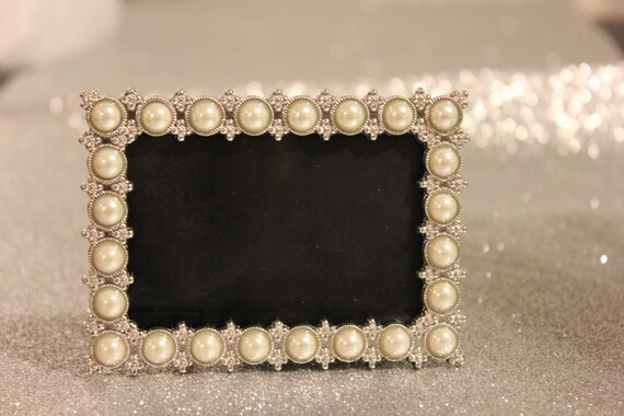 Mini Pearl Frame Vintage Style Pearls Bling Silver Table Etsy