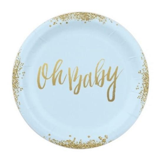 sc 1 st  Etsy & 24 OH BABY 9 Paper Plates / Baby Shower Golden Glitter