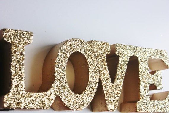 Sale GOLD LOVE SIGN Glittered Golden Love Letters Signage Free