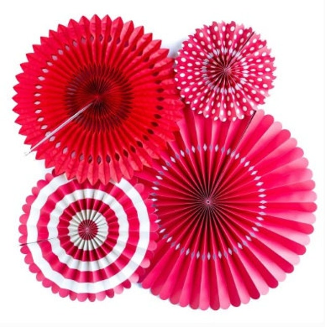 Set 4 RED Paper Fans Pinwheels Striped Polka Dot Solid Hanging Valentine's Day Galentine's Day Love Red Party Decor Rosette Backdrop Photo