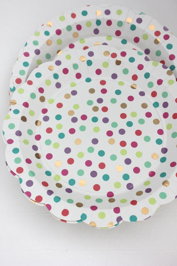 Set 8 COLOR CONFETTI Paper Plates Polka Dot Dotted Gold Foil Scallop Unicorn Birthday Party Rainbow Baby Shower Bridal Shower Wedding from TheFulfilledShop ... & Set 8 COLOR CONFETTI Paper Plates Polka Dot Dotted Gold Foil Scallop ...