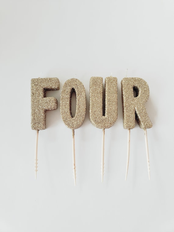Sale GLITTER FOUR CANDLES Gold Small Letter Candle Glitter Number Birthday Cake Candles Photo Smash 4th Fourth Topper