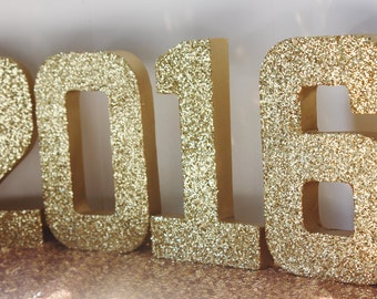 GOLD GLITTER 2018 Graduation Decoration New Years Eve Stand Up Decorative Numbers Graduation Class 2018 Decoration Photo Prop Glitter Sign