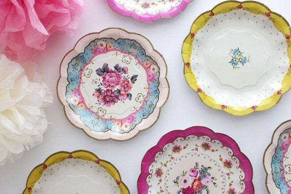 Sale 12 FLORAL TEA PARTY Mini Paper Plates Parisian Vintage | Etsy