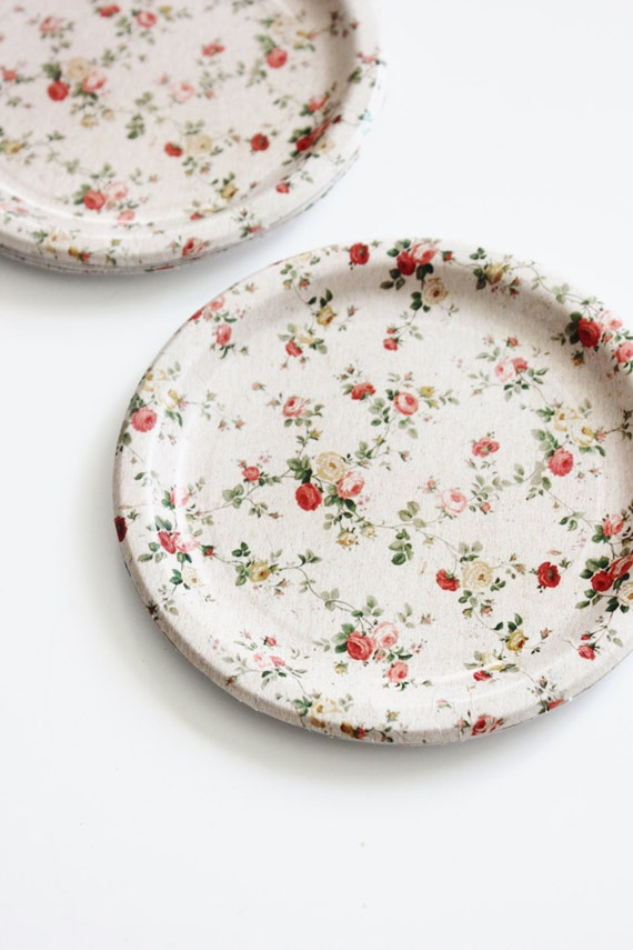 8 FLORAL TEA PARTY 7\  Paper Plates Parisian Vintage Style Shabby Chic Garden Tea Time Mint Green Pink Yellow Rose Roses French Paris Spring from ... & 8 FLORAL TEA PARTY 7\