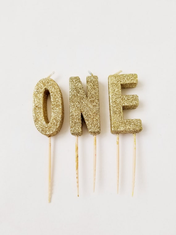 Sale GLITTER ONE CANDLES Gold Small Letter Candle Custom Glitter Number Birthday Cake Candles Photo Prop Smash 1st Topper