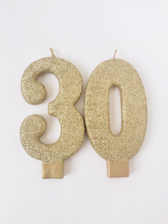 Sale 2 GLITTER GOLD JUMBO Candles Number Birthday Cake