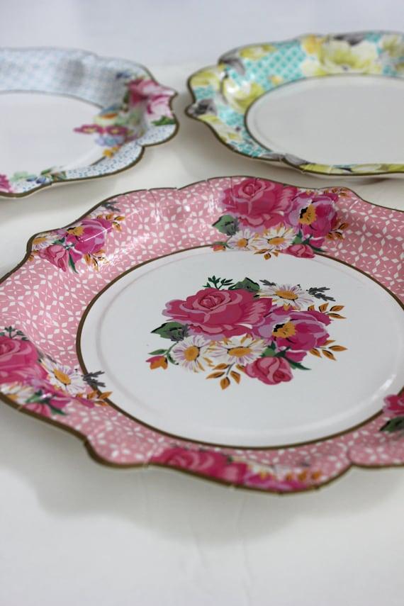 Sale 24 FLORAL TEA PARTY Large Paper Plates Parisian Vintage
