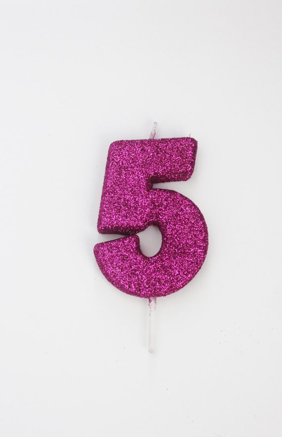 Sale 2 GLITTER HOT PINK Candle Number Numeric Birthday Cake Candles 13th 16th 18th 21st 30th 40th 50th 60th 70th 80th 90th Glittery Sparkle