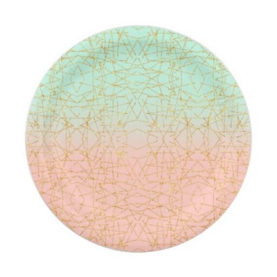 sc 1 st  Etsy & 8 CORAL \u0026 MINT Green Gold Paper Plates Gold Parisian Vintage