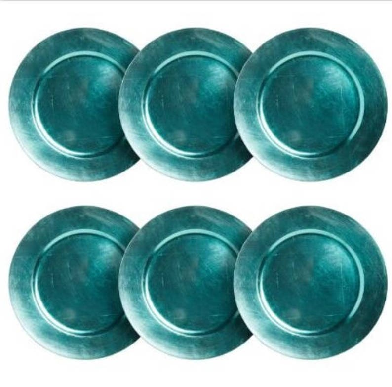 fa0b8960b1e Set of 6 AQUA BLUE CHARGER Plates Chargers Tableware Plate | Etsy