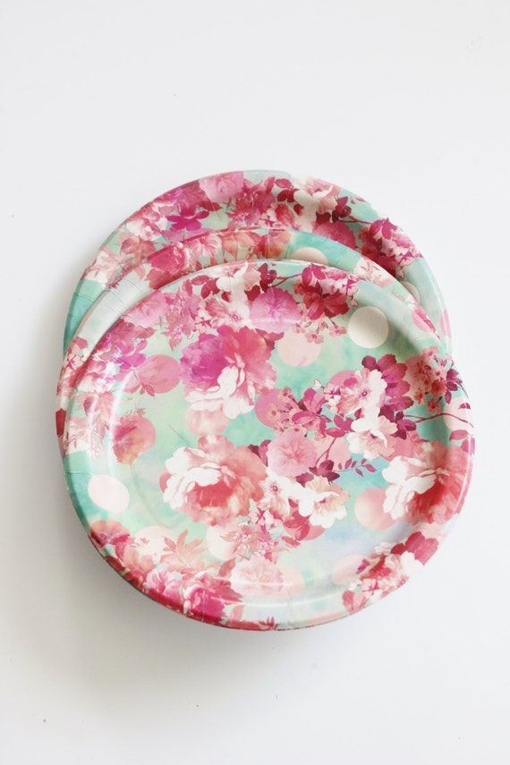 8 FLORAL TEA PARTY 7  Paper Plates Watercolor Flowers Parisian Vintage Style Shabby Chic Garden Tea Mint Green Pink Rose Roses French Paris from ... & 8 FLORAL TEA PARTY 7