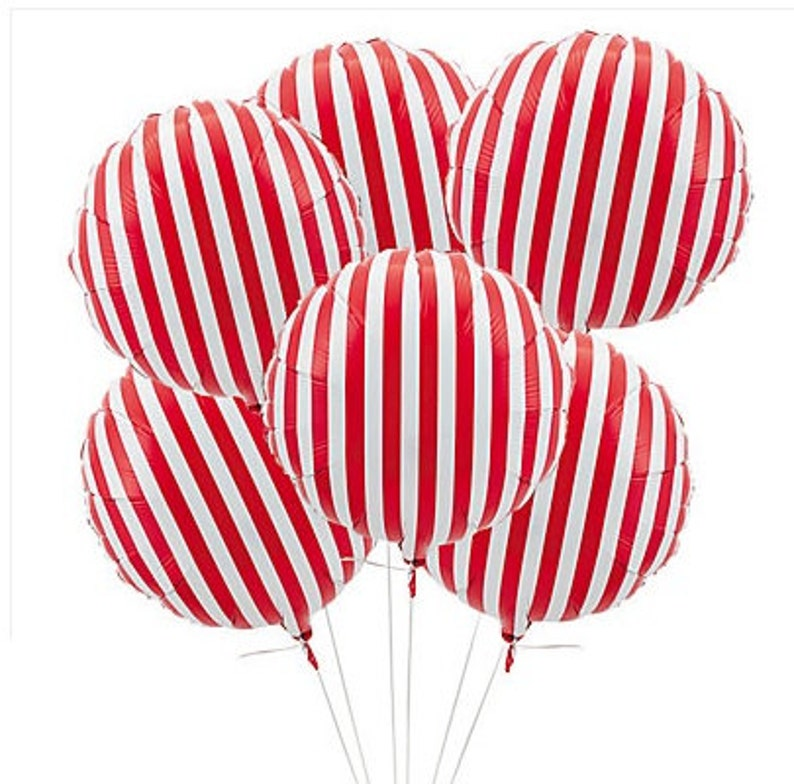 Sale 3 Red White Striped Mylar Balloons 18 Candy Land Etsy